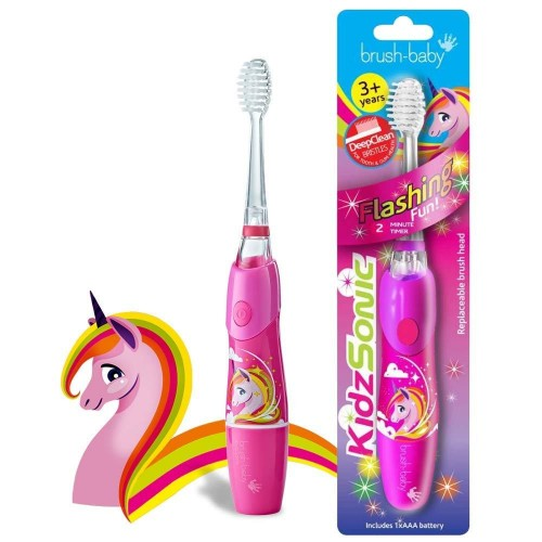 Звуковая зубная щетка Brush-Baby KidzSonic от 3 лет розовая 1 насадка