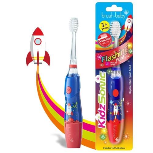 Звуковая зубная щетка Brush-Baby KidzSonic от 3 лет синяя 1 насадка