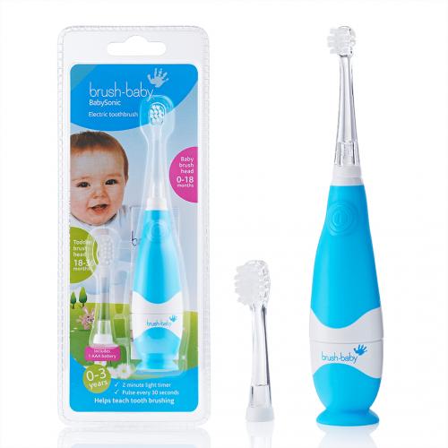 Звуковая зубная щетка Brush-Baby BabySonic от 0 до 3 лет голубая