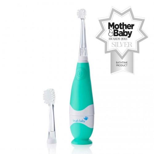 Звуковая зубная щетка Brush-Baby BabySonic от 0 до 3 лет зеленая