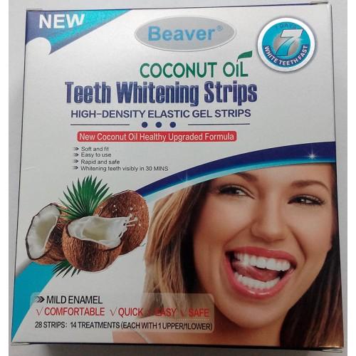 Полоски для отбеливания зубов с кокосовым маслом Beaver Teeth Whitening Coconut Oil Strips Blue