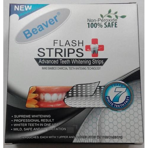 Полоски для отбеливания зубов с бамбуковым углем Beaver Flash Strips Blue