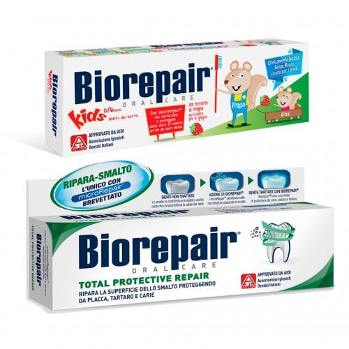Комплект Biorepair детская зубная паста «Веселый мышонок» 50 мл + зубная паста «Абсолютная защита и восстановление»75 мл