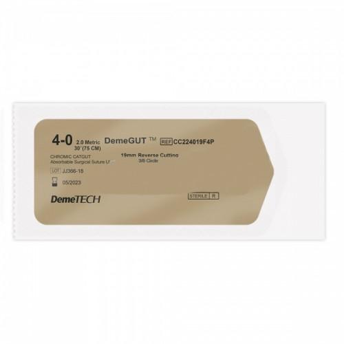 Кетгут хромированный DEMEGUT 4/0 игла 19 мм 3/8 возвратно-режущая 75 см цвет коричневый