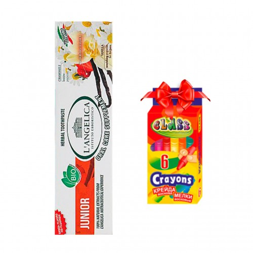 Детская зубная паста L'Angelica  Вкус природы от 0 до 13 лет 50 мл + подарок Карандашивосковые