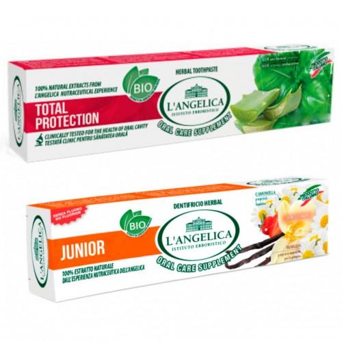Комплект Langelica Детская зубная паста «Вкус природы» от 0 до 13 лет 50 мл + Зубная паста «Тотал протекшн» 75 мл