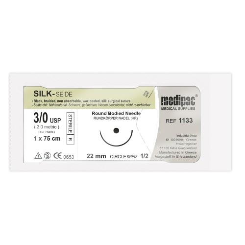 Плетеная чёрная нить SILK 3/0 игла 22 мм 1/2 колючая 75 см