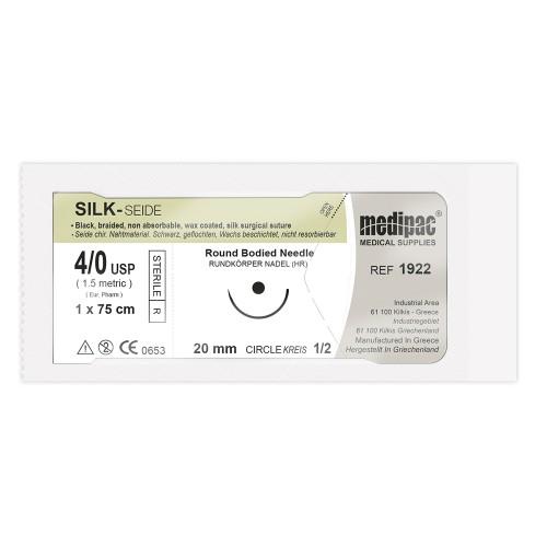 Плетеная чёрная нить SILK 4/0 игла 20 мм 1/2 колючая 75 см