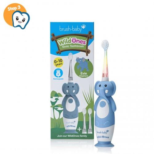 Звуковая зубная щетка Brush-Baby от 0 до 10 лет Слоник 3 насадки