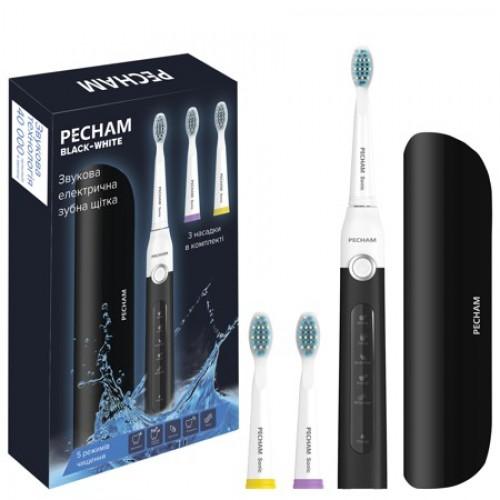 Электрическая звуковая зубная щетка Pecham Black-White Travel 3 насадки