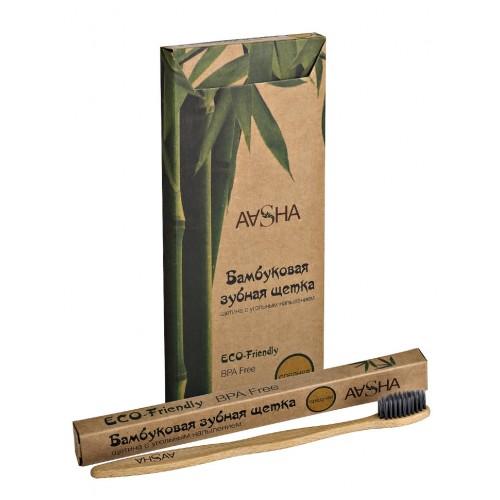 Зубная щетка Aasha Herbals Бамбуковая с угольным напылением средняя 1шт.