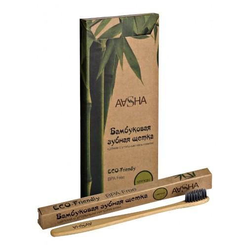 Зубная щетка Aasha Herbals Бамбуковая с угольным напылением мягкая 1шт.