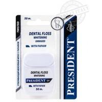 Зубная нить (флосс) President Отбеливающая с папаином, 50 м
