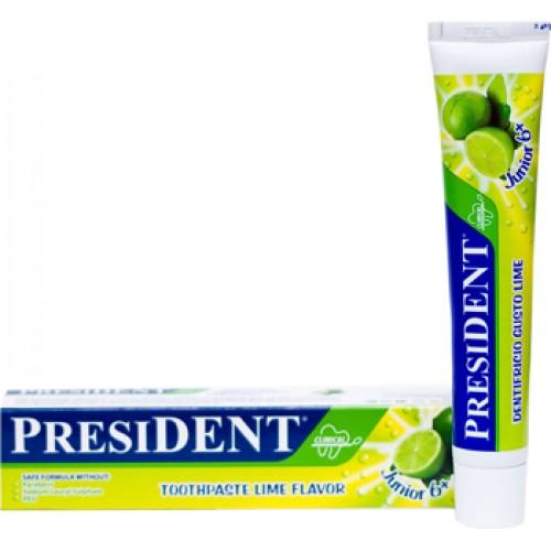 Детская зубная паста President Junior Лайм от 6 до 12 лет 50 мл