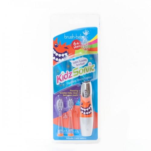 Звуковая  зубная щетка Brush-Baby KidzSonic от 6 лет серебряная
