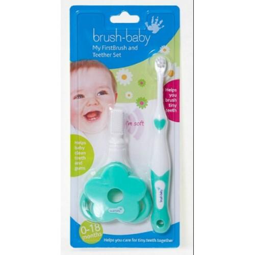 Зубная щетка Brush-Baby FirstBrush + грызунок My First Teether от 0 до 18 месяцев