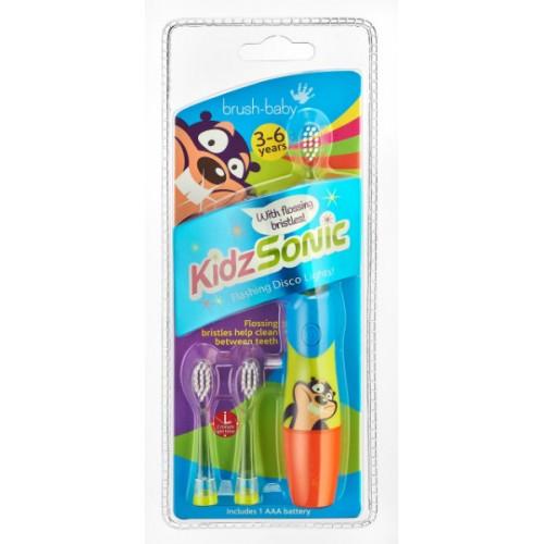 Звуковая зубная щетка Brush-Baby KidzSonic от 3 до 6 лет синяя