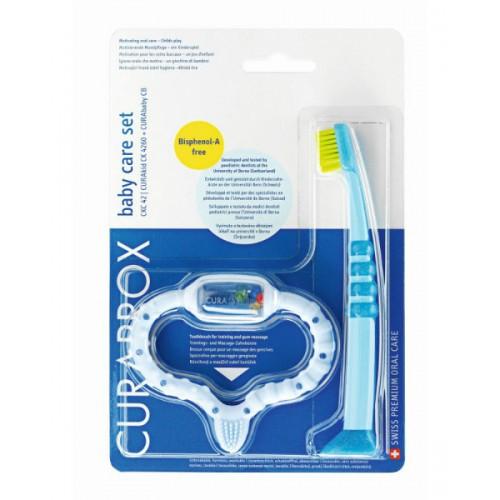 Стимулятор для прорезывания  Curaprox Curababy, голубой и щетка