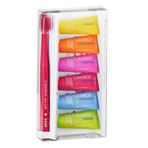 Набор зубных паст + зубная щетка Curaprox Be You 6 шт по 10 мл
