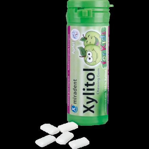 Жевательная резинка с ксилитолом для детей Miradent Xylitol chewing gum for kids Яблоко 30 шт