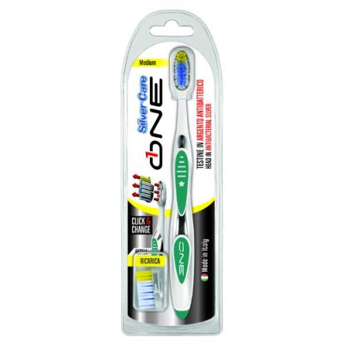 Зубная щетка Silver Care One отбеливающая 2 сменные головки