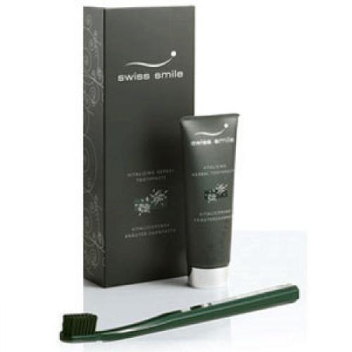 """Набор """"Ночь"""" Swiss Smile (Свис Смайл) витаминно-травянная зубная паста и мягкая зубная щетка черного цвета"""