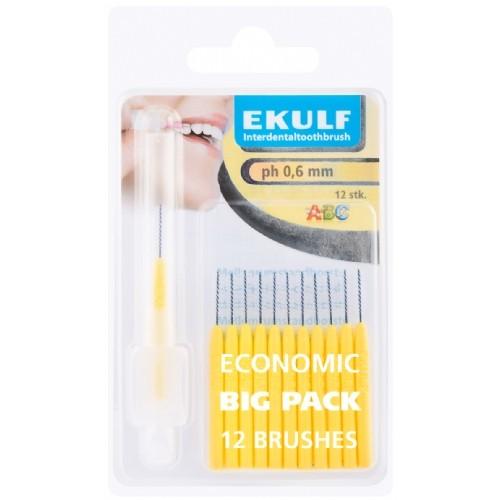 Межзубные ершики Ekulf ph 0,6 мм желтые 12 шт