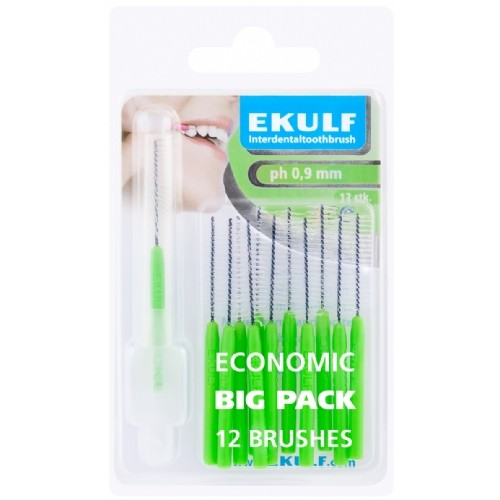 Межзубные ершики Ekulf ph 0,9 мм зеленые 12 шт