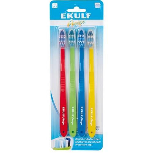 Набор зубных щеток Ekulf Amigo средняя жесткость 4 шт