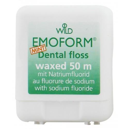 Зубная нить (флосс) Emoform вощенная со фтором и мятой 50 м